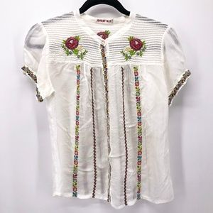 Johnny Was Embroidered Peasant Top Short Sleeve Sm